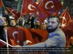 demonstrators assemble to welcome the turkish