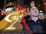 demonstrators with pennants of turkish president