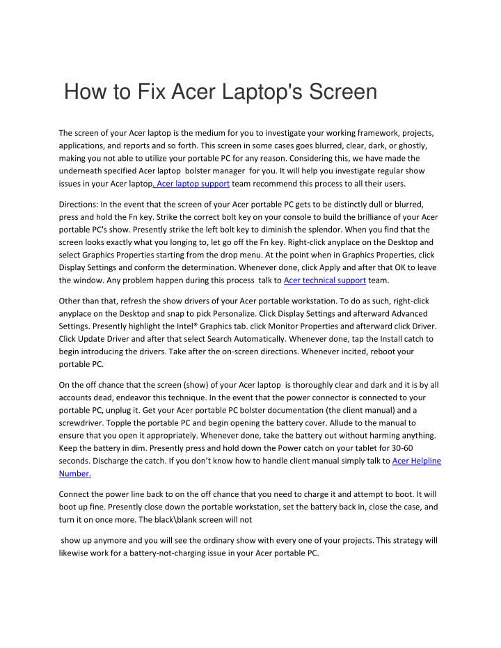 how to fix acer laptop s screen n.