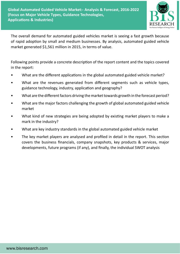 global and chinese automated guided vehicle Global automated guided vehicle (agv) market browse full table of contents and data tables @ https: the 'global and chinese automated guided vehicle.