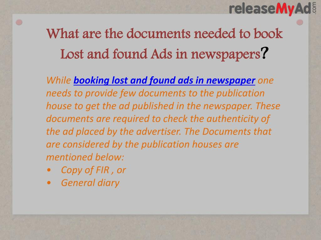 PPT - Lost and Found Advertisement in Newspaper PowerPoint