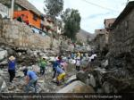 people evacuate flotsam and jetsam after