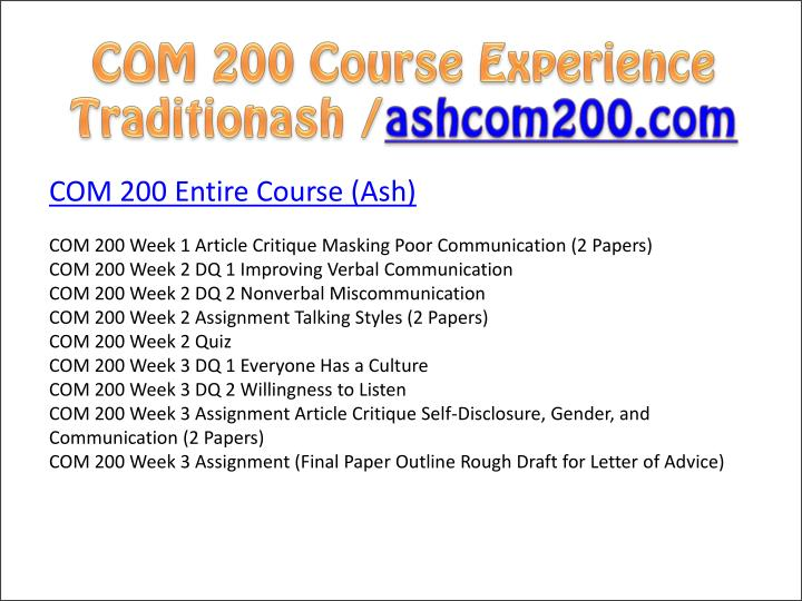 com200 week 3 assignment 1 Com 200 com200 week 1 assignment basic principal of click the button below to add the com 200 com200 week 3 assignment final paper outline to your wish.