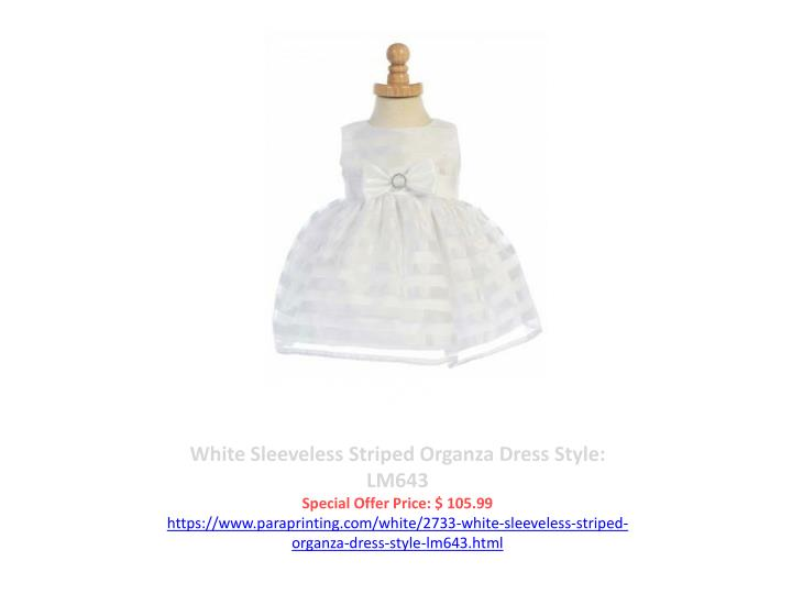 White Sleeveless Striped Organza Dress Style: LM643