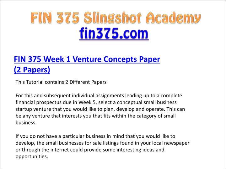 venture concepts paper