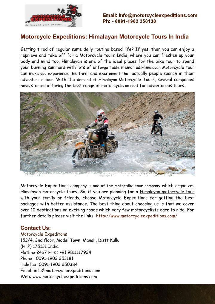 motorcycle expeditions himalayan motorcycle tours n.