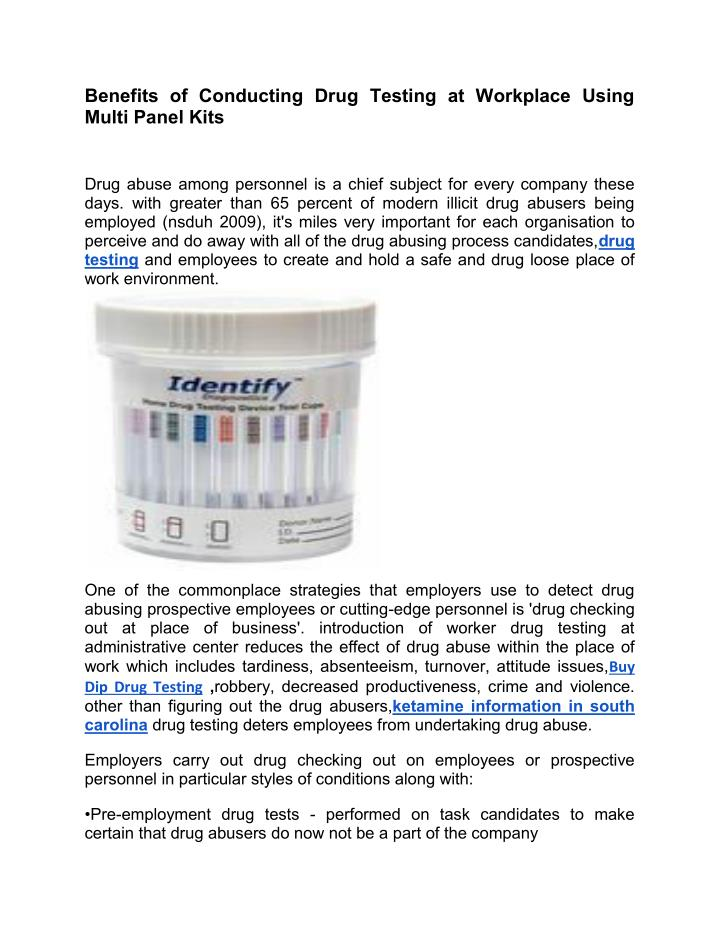 benefits of conducting drug testing at workplace n.