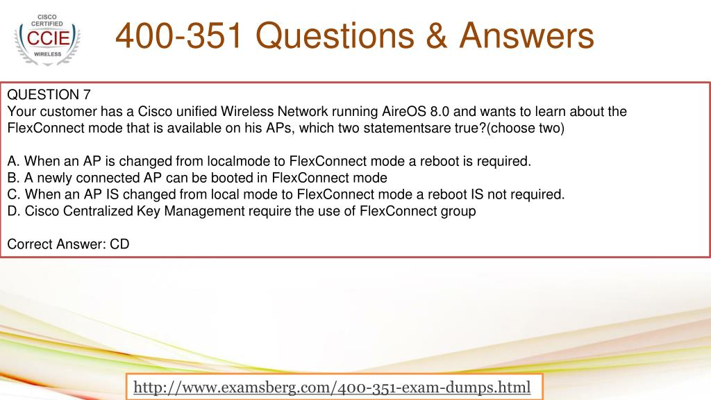PPT - Cisco 400-351 Actual Exam Question Answers PowerPoint