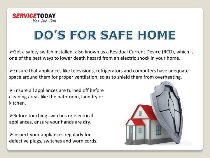 DO'S FOR SAFE HOME