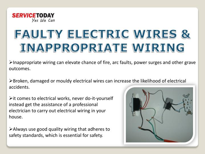 FAULTY ELECTRIC WIRES & INAPPROPRIATE WIRING