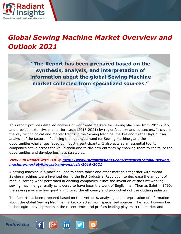 global sewing machine market overview and outlook n.