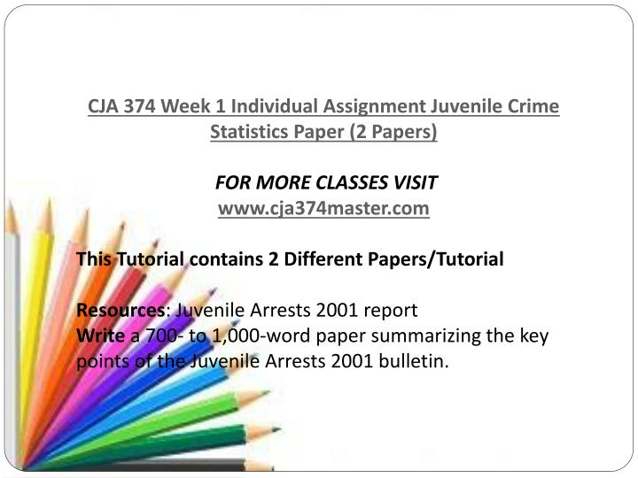 week one assignment juvenile crime statistics Corrections for juveniles discussion question 2 cja 374 week 1 individual assignment juvenile crime statistics paper (2 papers) cja 374 week 1 team assignment.