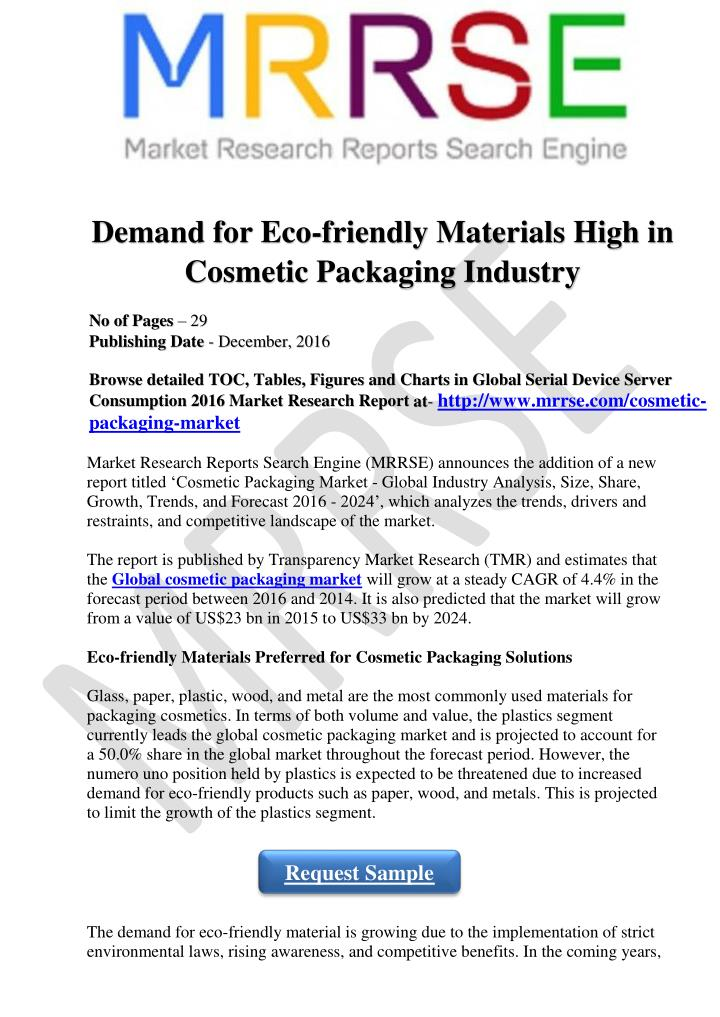 demand for eco friendly materials high n.