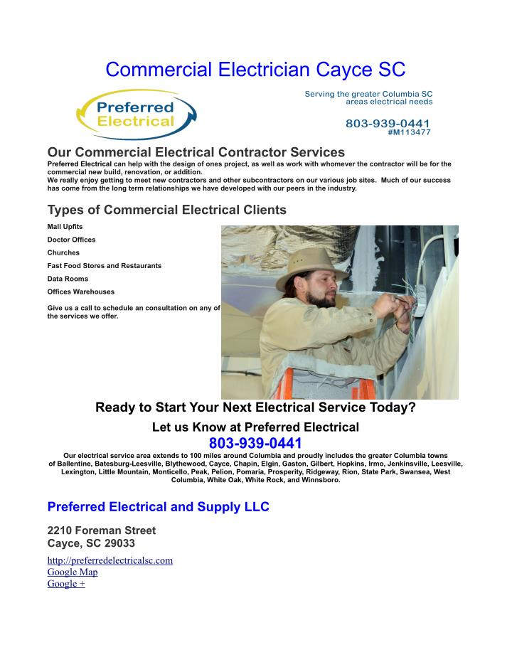 commercial electrician cayce sc n.