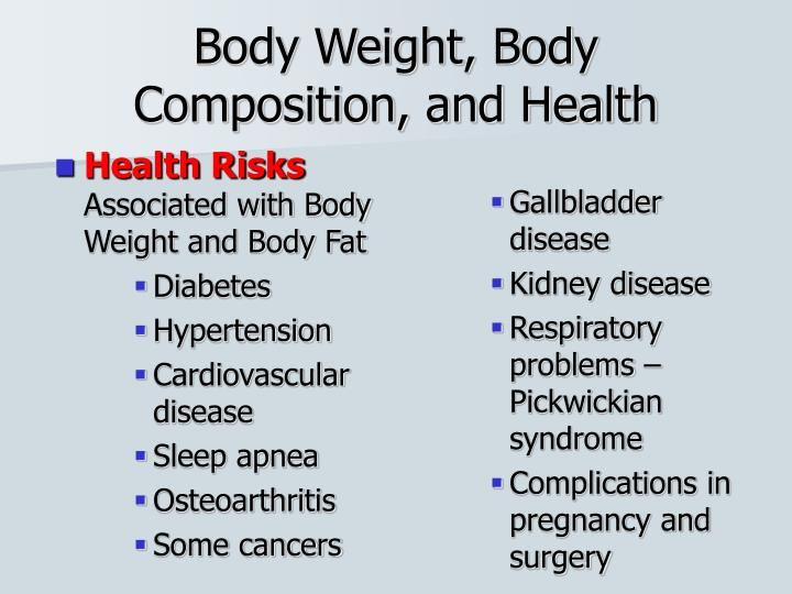 a body composition and the risks associated with excess body fat