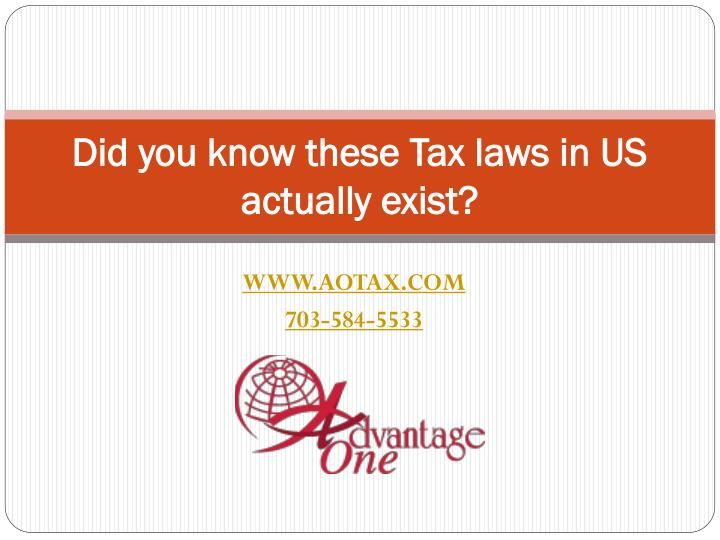 did you know these tax laws in us actually exist n.