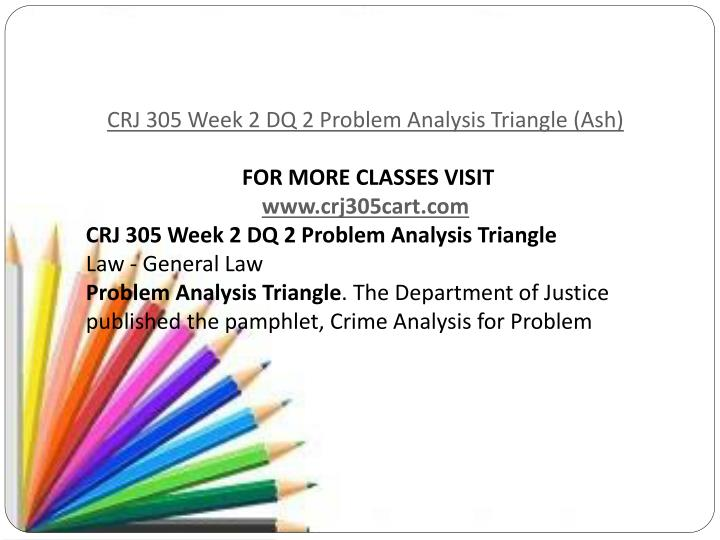 crj 305 week 2 dq 2 Crj 305 week 5 dq 1 crime prevention initiatives crime prevention initiatives select one of the following activities from chapter 10 of crime prevention for your initial post a activity: crime prevention.