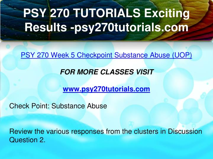 psy 270 week 5 checkpoint substance