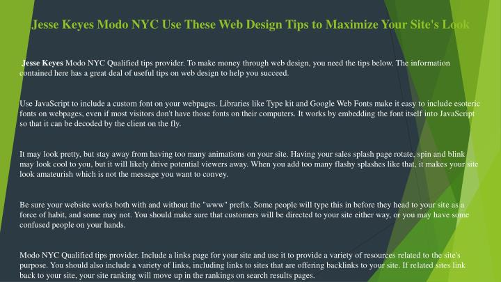 jesse keyes modo nyc use these web design tips to maximize your site s look n.