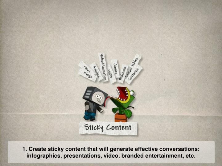 1. Create sticky content that will generate effective conversations: