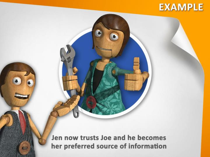 Jen now trusts Joe and he becomes her preferred source of information