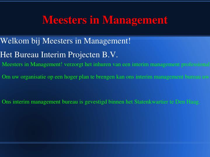 meesters in management n.