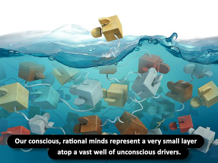 Our conscious, rational minds represent a very small layer atop a vast well of unconscious drivers.