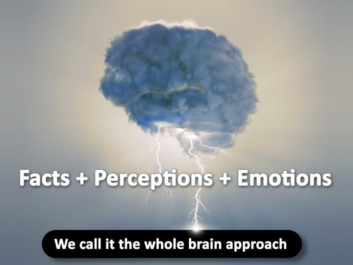 We call it the whole brain approach: Facts + Perceptions + Emotions.