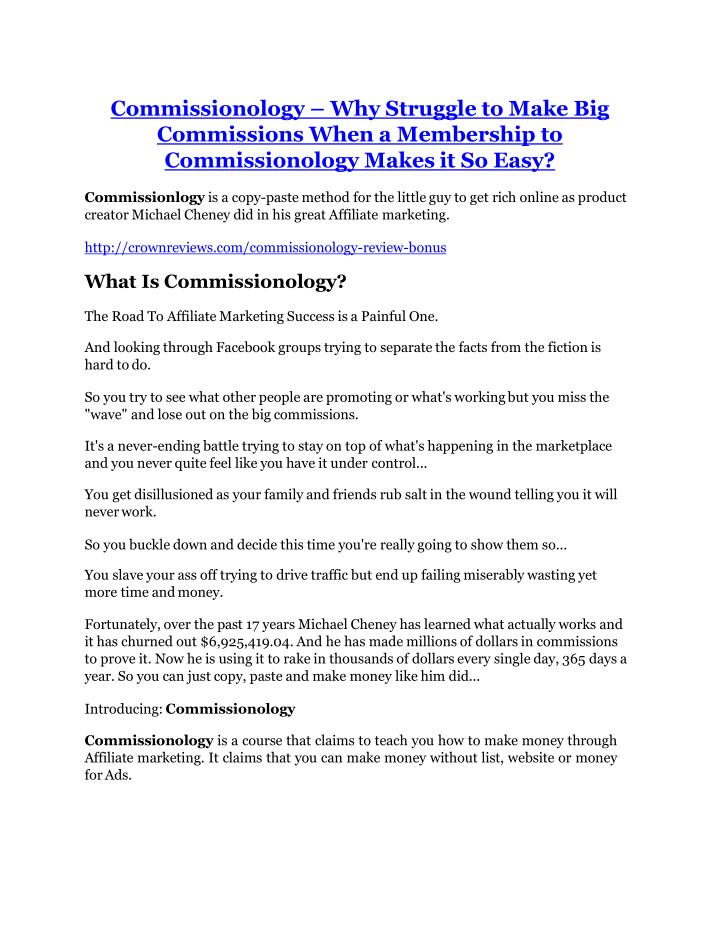 commissionology why struggle to make n.
