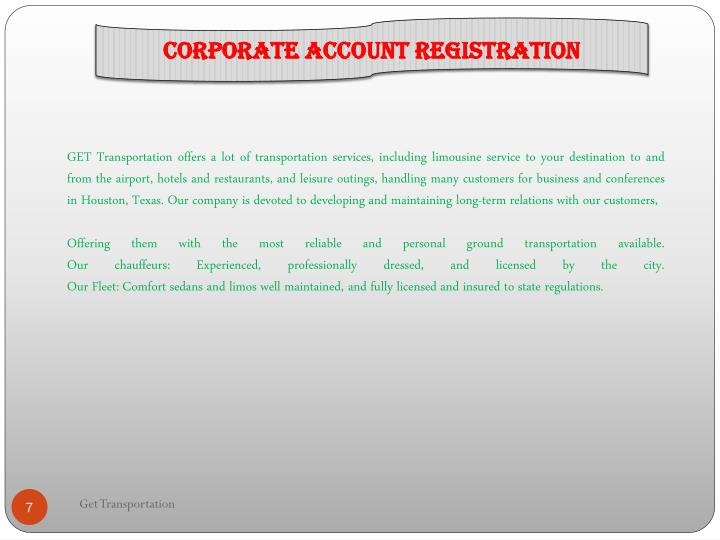 Corporate Account Registration