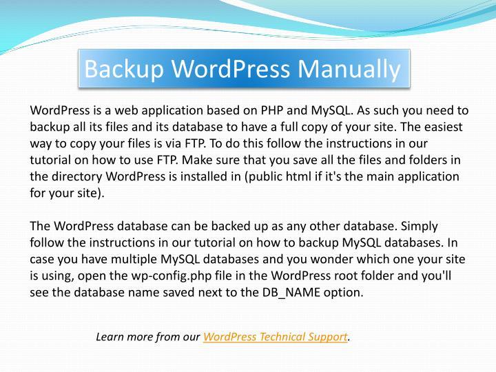 Backup wordpress manually