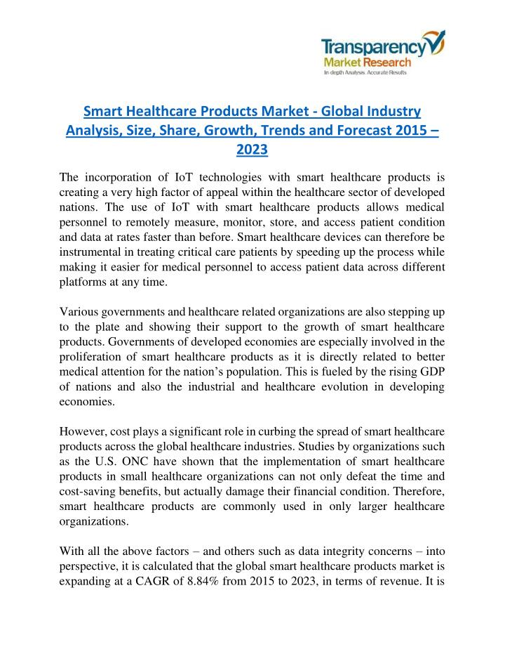 smart healthcare products market global industry n.