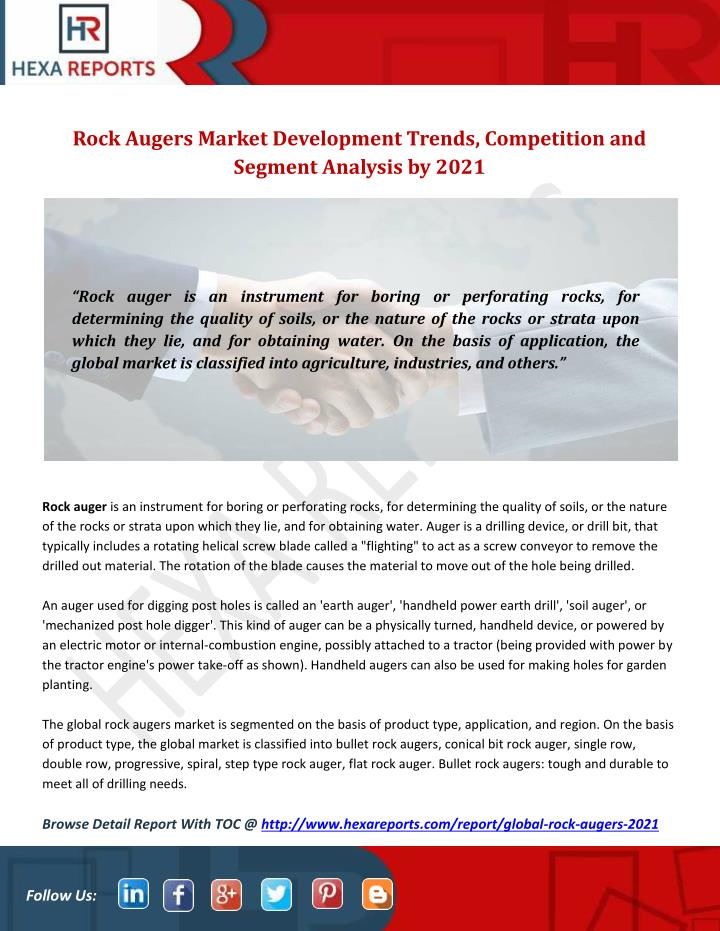 PPT - Rock Augers Market Development Trends, Competition and