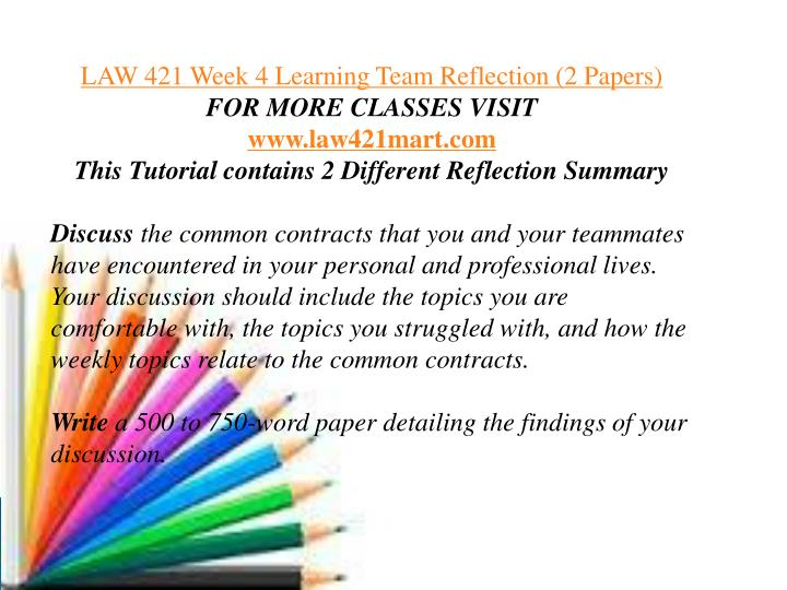 weekly reflection law 421