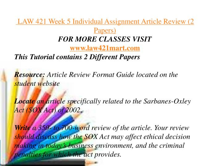 law421 week 2 assignment