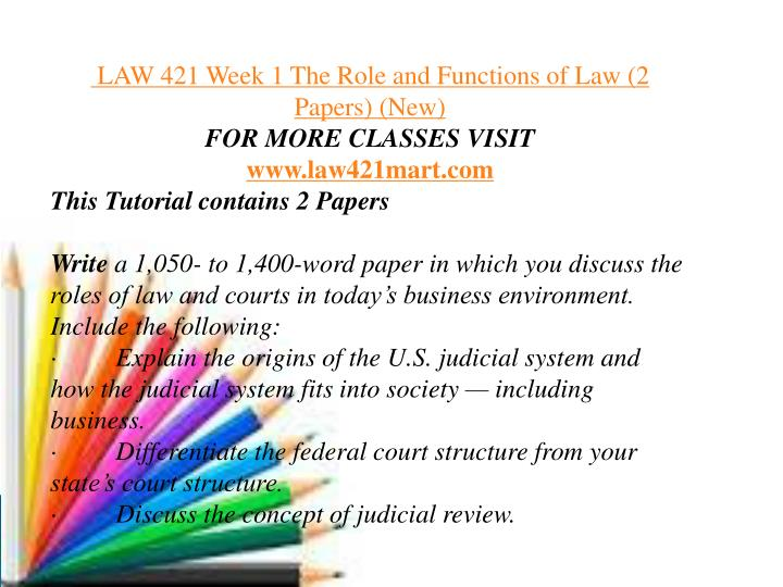 role and functions of law paper