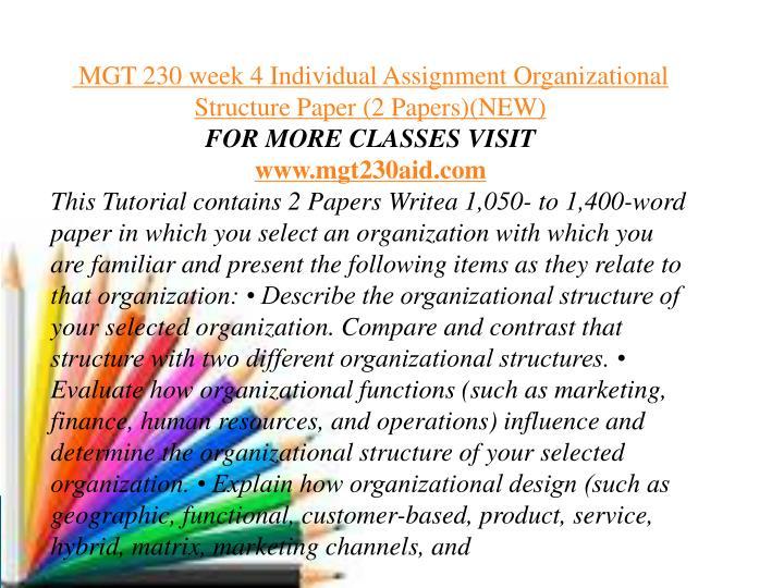 mgt 230 organizational structure paper