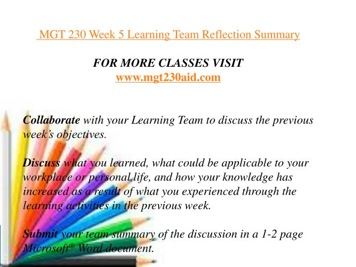 learning team reflection summary Tutorial for:acc290 week 5 learning team reflection summary (3) click here to order a unique plagiarism free paper done by professional writers and delivered before your deadline in the dynamic world we currently live in, it's becoming increasingly difficult for students to balance academics, co-curricular activities and entertainment among.