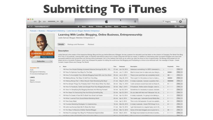 Submitting To iTunes
