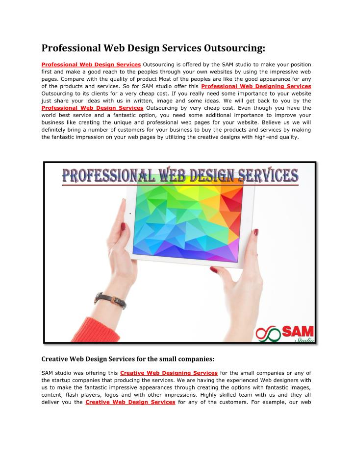 professional web design services outsourcing n.
