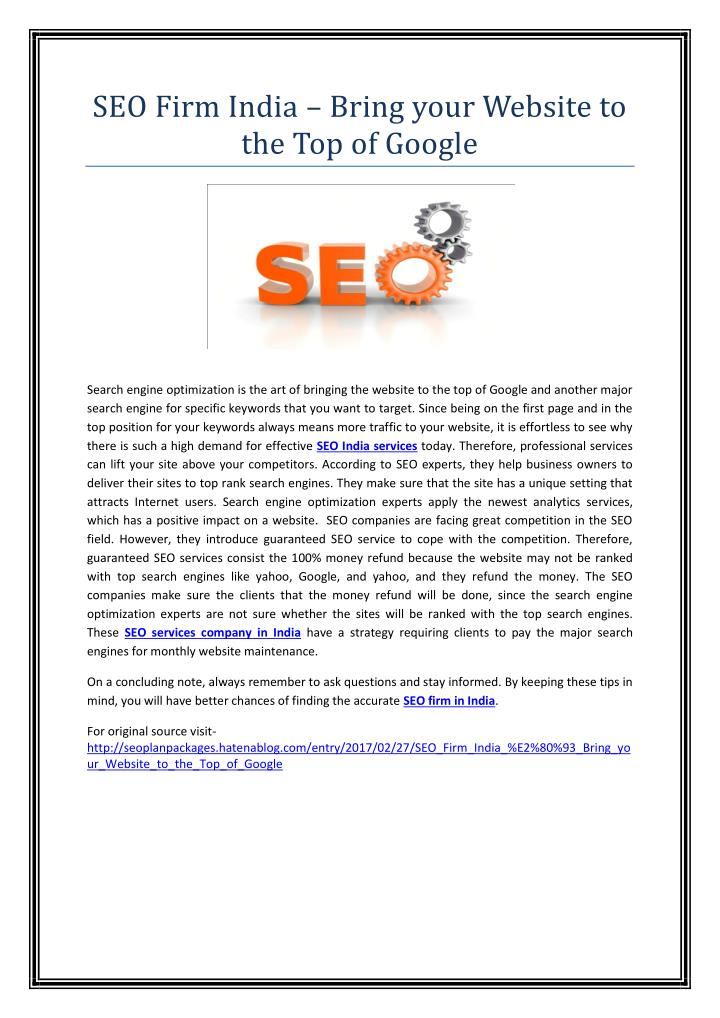 seo firm india bring your website n.