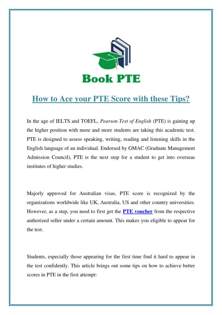 PPT - How to Ace Your PTE Score with These Tips? PowerPoint