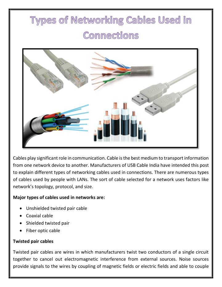 PPT - Types of Networking Cables Used in Connections PowerPoint ...