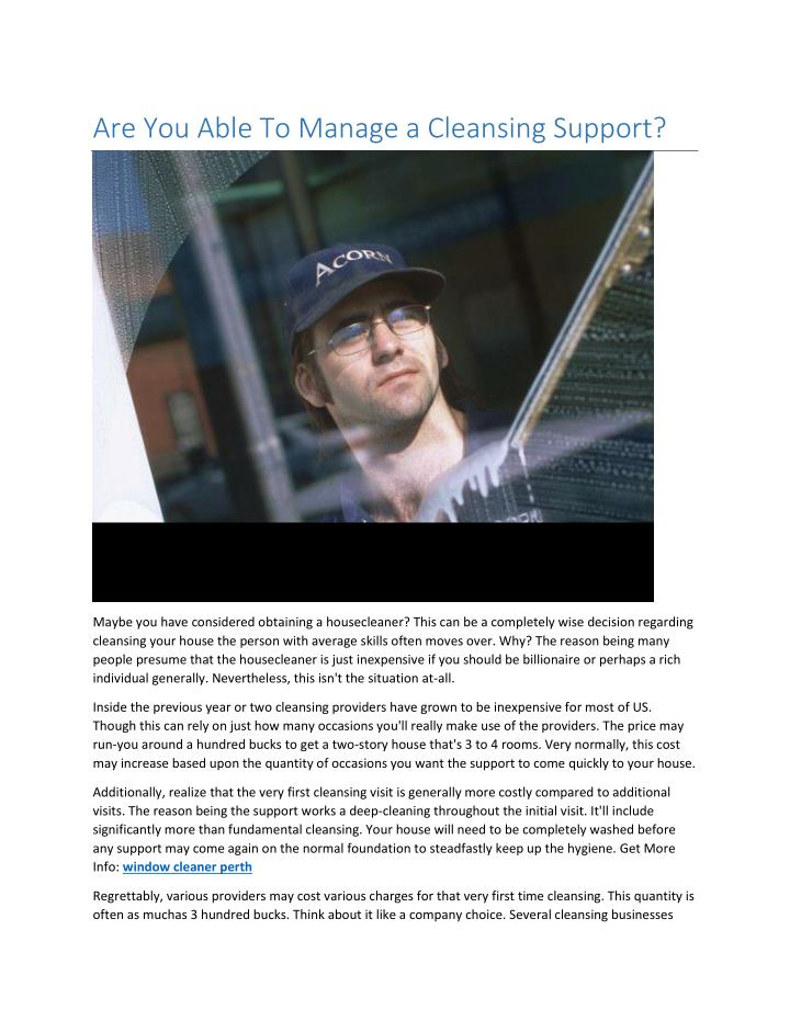 are you able to manage a cleansing support n.