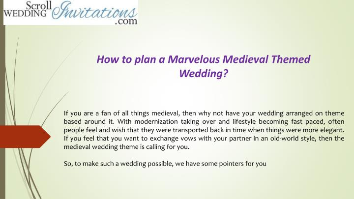 how to plan a marvelous medieval themed wedding n.