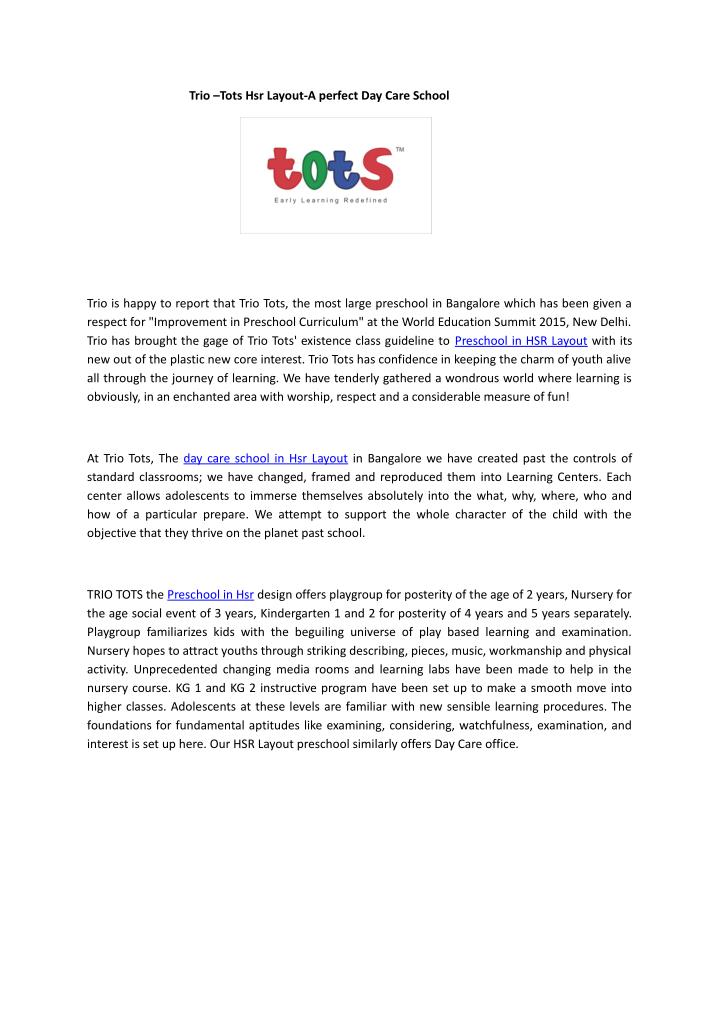 trio tots hsr layout a perfect day care school n.