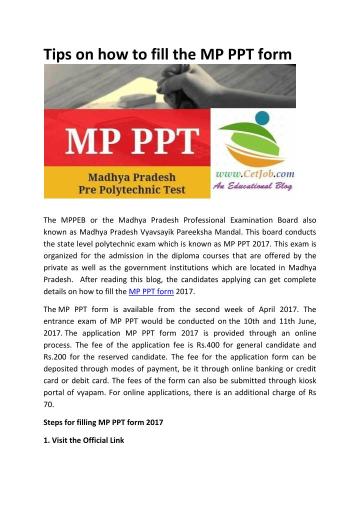 tips on how to fill the mp ppt form n.