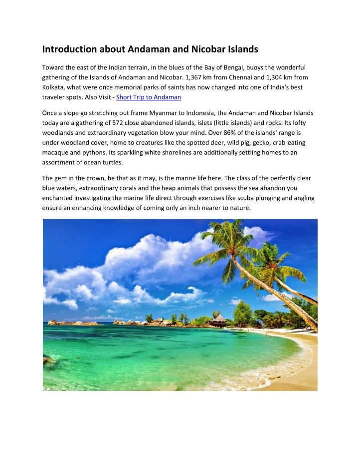introduction about andaman and nicobar islands n.