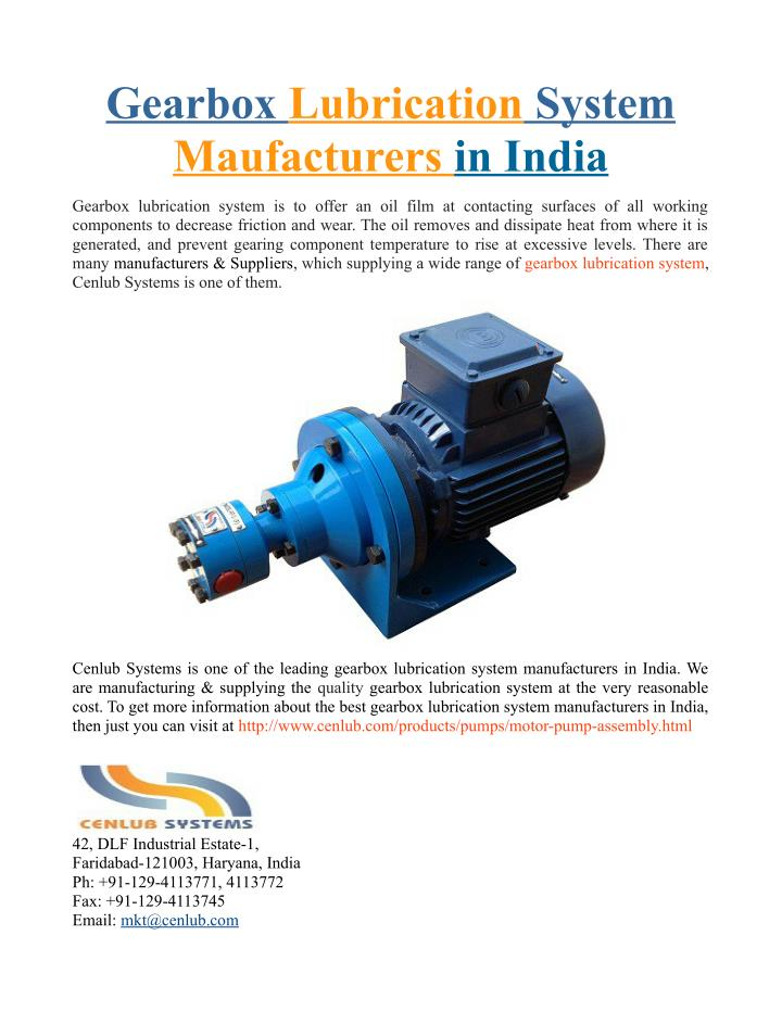 PPT - Gearbox Lubrication System Maufacturers in India