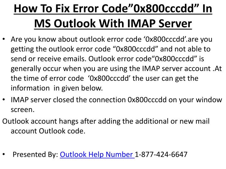 how to fix error code 0x800cccdd in ms outlook with imap server n.
